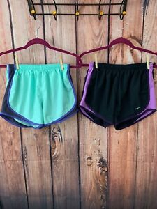 LOT of Two Nike DRI -FIT Women's  Size SMALL Running Shorts W Brief Liner