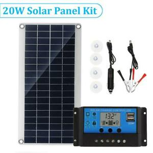 20W Portable Solar Panel Battery Charger Car Phone RV Light Camping Power Supply