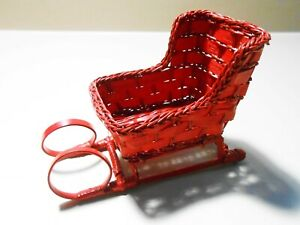 Christmas Sled Red Hand Made Woven Holiday