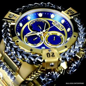 Invicta Reserve Hercules Swiss Mvt Gold Plated Steel Blue Chrono Watch 52mm New
