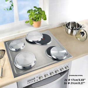 ANMASHOME 4 Silver Cooktop Stove Covers Stainless Steel Hob Protector Set