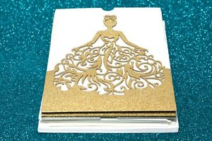Laser Cut 24 Pieces Champagne Gold Glitter Quinceaneras Figure Invitations Cards