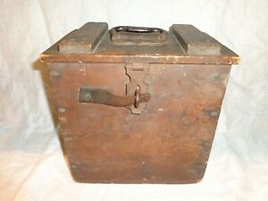 Scarce Antique Wooden Lunch Bottle Cooler with Zinc Metal Ice Holder Insert