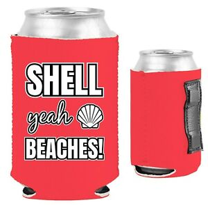 Shell Yeah Beaches Magnetic Can Coolie Neoprene Collapsible; crab, starfish, sea