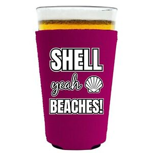 Shell Yeah Beaches Neoprene Collapsible Pint Glass Coolie; beer,