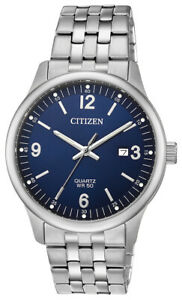 Citizen Quartz Men's Blue Dial Silver Tone Bracelet 40mm Wrist Watch BI1050 81L