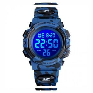 Dodosky Kids Digital WatchBoys Sports Waterproof Led Watches Blue Camouflage