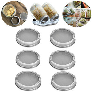4/6PCS Seed Sprouting Lid For Wide Mouth Mason Canning Jar Stainless Steel Lids