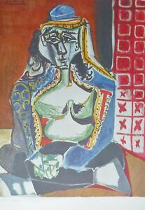 PABLO PICASSO Woman Turkish Costume plate signed HAND NUMBERD LITHOGRAPH gouache $245.00