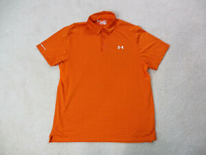 Under Armour Polo Shirt Adult Extra Large Orange Silver Lightweight Golfer Mens