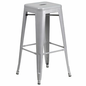 Flash Furniture 30'' High Backless Silver Metal Barstool CH-31320-30-SIL-GG