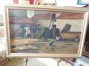ANTIQUE OIL PAINTING OF A BARNYARD WITH COWS AND CHICKENS unsigned