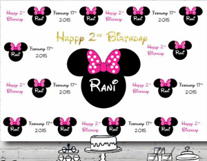 MINNIE MOUSE WHITE PERSONALISED BIRTHDAY PARTY BANNER BACKDROP BACKGROUND