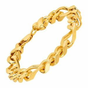 Solid Figaro Link Bracelet in 18K Gold Plated Bronze, 8.5