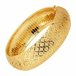 Flexible Textured Bangle Bracelet in 14K Gold Plated Bronze, 7.5