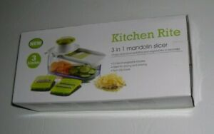Kitchen Rite 3 In 1 Mandolin Slicer Cheese Vegetables Slices Potatoes New In Box