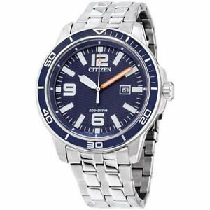 Citizen Eco Drive Men's Brycen Blue Dial Calendar 44mm Watch AW1520 85L