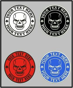 Custom Embroidered Round Skull Logo Patch Circle 7 Sizes Motorcycle Biker Gear