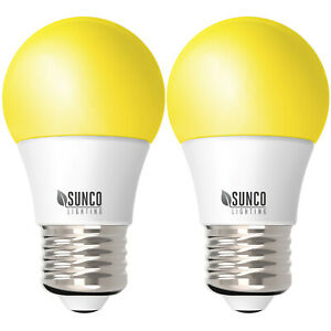 Sunco 2 Pack Dimmable Bug Repel A15 LED Light Bulb 8W 2000K (Yellow) E26