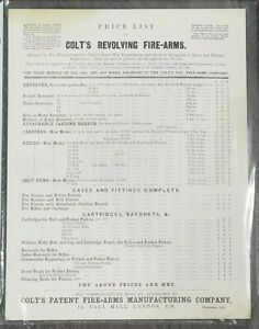1869 Original Colt Fire Arms Price List - 150 years old! AMAZING CONDITION