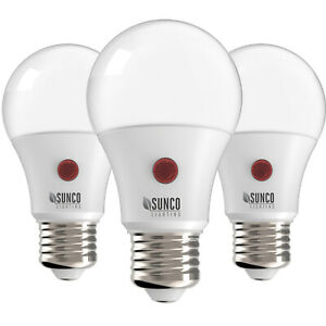 Sunco 3 PACK A19 LED Light Bulb Dusk-to-Dawn Auto On/Off 9W 4000K Cool White
