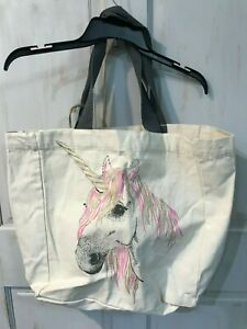 Classic Reusable Shopping Canvas Bag with Unicorn and Gray Handles