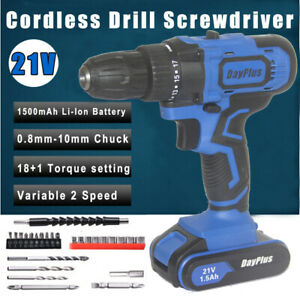 21V Lithium Battery Charge Cordless Combi Drill Impact Driver Screwdriver USA