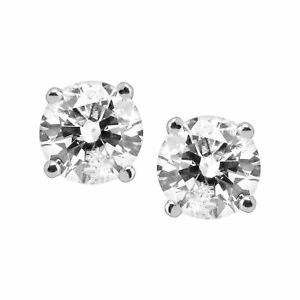 1 ct Round Diamond Stud Earrings 14K White Gold (1 ct I Color I2-I3 Clarity)