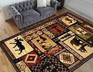 Cabin rugs Geometric carpet fish/bear decor/lodge wilderness western design rugs