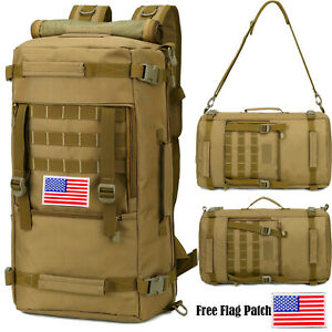 50L Military Tactical Molle Backpack Waterproof Army Hiking Camping Assault Pack