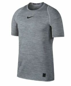 NWT NIKE PRO Fitted DriFit Mens Training Shirt Top 859216 SZ S White Cool Grey