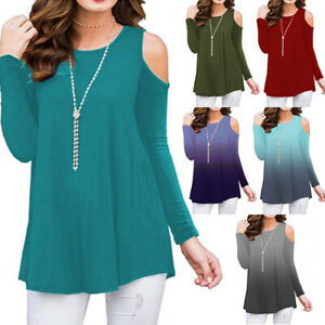 Womens Cold Shoulder Tunic Top Long Sleeve Blouse Plus Size Casual Loose T Shirt