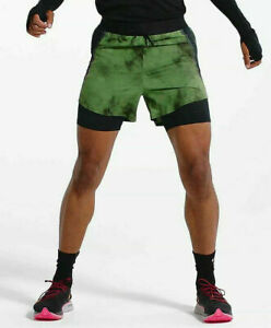 $100 NEW Mens Nike Tech Pack 2 in 1 Running Shorts BV5687-010 GreenBlack S-XL