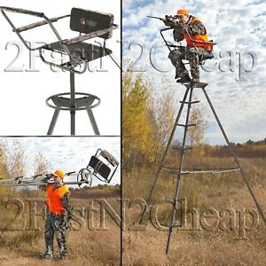 Portable Tripod Swivel Seat Stand 360 For Game Hunter Deer Turkey Ladder 12 ft