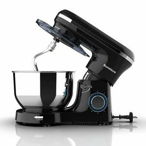 Electric Food Stand Mixer 6QT Tilt-Head Stainless Steel Bowl 660W 6 Speed Black