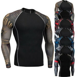 Men Quick Dry Sports Fitness Base Layer Long Sleeve T-Shirts Compression Shirt