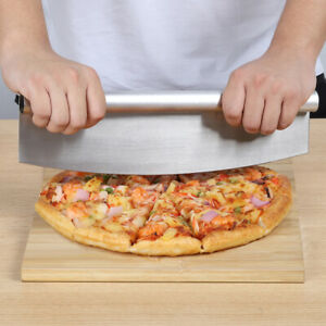 14quot; Pizza Cutter Sharp Rocker Blade Heavy Duty Stainless Steel Slicer With Cover