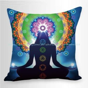 pillow cushion covers chakras meditation yoga heppy cushion cover