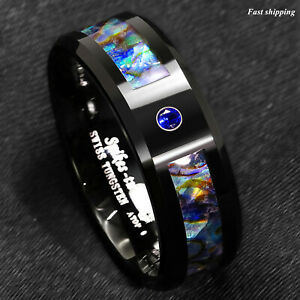 8 6mm Black Tungsten Ring Blue Diamond Colored glaze Inlay ATOP Men's Jewelry $13.59