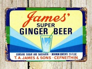 James' Super Ginger Beer metal tin sign collectible wall hanging
