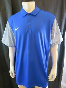 Nike Golf Dri Fit Big and Tall 2x Polo Shirt New with Tags Blue with Grey Sleeve