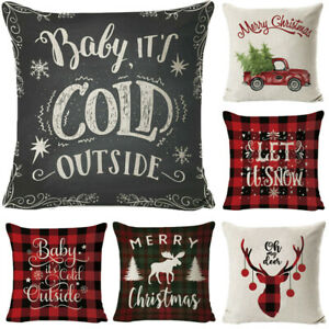 Merry Christmas Xmas Designed Throw Pillow Case Cover Cushion Decor 18 x 18 Inch