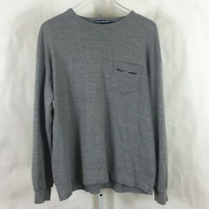 Vintage Polo Sport Mens Spell Out Long Sleeve Heavyweight T Shirt Gray Size M