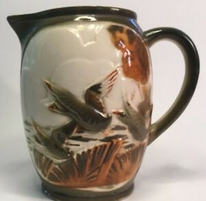 "Antique French Majolica Hunting Pitcher ""Wild Ducks"" by St.Clement c.1900"