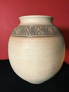 Large Hand Thrown Studio Pottery Vase Beautiful Stain And Incised Signed ERA FB