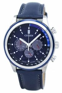 Citizen Men's Eco Drive Chronograph Leather Band Blue Dial 43mm Watch CA4031 07L