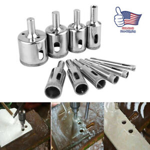 10xSteel Diamond Drill Bit Hole Saw Glass Ceramic Marble Tile Cutter Rotary Tool