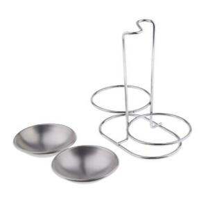 Stainless Lid Organizer Stand Holder Rack Spoon Rest Storage Double Bowls