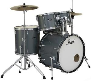 Pearl Roadshow 5 piece Complete Drum Set with Cymbals 22quot; Kick Charcoal $529.00