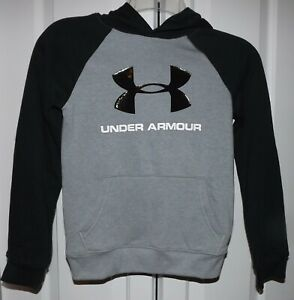 NWT BOY'S UNDER ARMOUR GRAYBLACK HOODIE YOUTH LARGE LOOSE FIT RETAIL $40.00